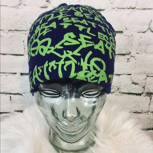 Other - Seattle Hat Blue Green Graffiti Print Beanie Knit